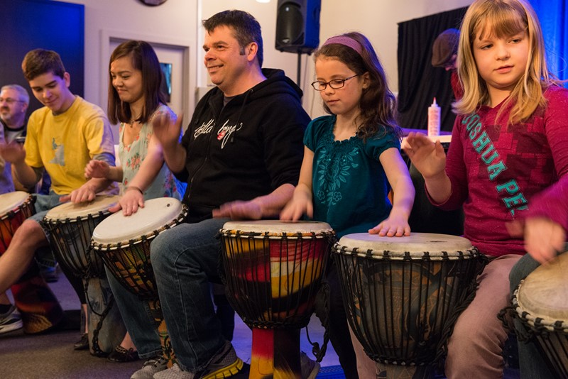 Young and old at The Drumming Circle