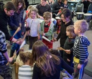 Participants at the Drumming Circle